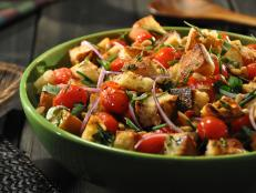 Cooking Channel serves up this Pine Nut Bread Salad recipe from Roger Mooking plus many other recipes at CookingChannelTV.com