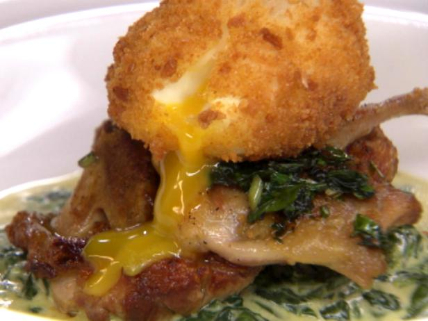 Quail and Egg on Creamed Spinach