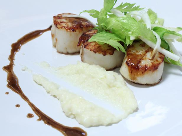 Pan Roasted Diver Scallops with Potato and Celery Root Puree and Brown Butter
