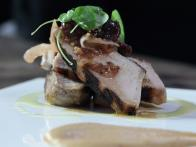 Grilled Pork Chop with Apple and Peach Mostarda and Puree