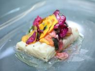 Poached Pacific Halibut with Baby Shaved Root Vegetables, Tarragon Vinaigrette