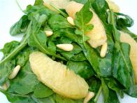 Arugula Salad with Toasted Pine Nuts and Fresh Grapefruit in a Citrus Agave Vinaigrette