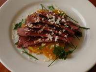 Grilled Beef Heart with Roasted Golden Beets and Horseradish