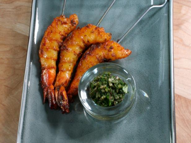 Seared Prawns with Lime with Mint and Cilantro Chutney