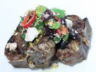 Grilled T-bone Lamb Chops with Fava Bean and Feta Salad