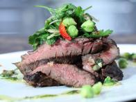 Grilled Skirt Steak with Salsa Verde and Fresh Chick Pea Salad