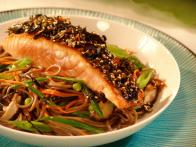Nori Crusted Salmon with a Soba Noodle Salad and Green Tea