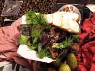 "Sweet Fig and Mesclun ""Splitsville"" Salad with Nutty Pesto and Goat Cheese Crostini"
