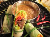 Thai-Italian Spring Rolls with Peanut Dipping Sauce