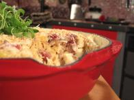 Baked Mac 'N Cheese with Caramelized Onions and Duck Sausage