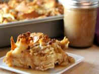 Apple Bread Pudding with Caramel Dessert Sauce