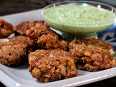 Cooking Channel serves up this Refried Bean Pakoras with Cilantro and Coconut Chutney recipe from Bal Arneson plus many other recipes at CookingChannelTV.com