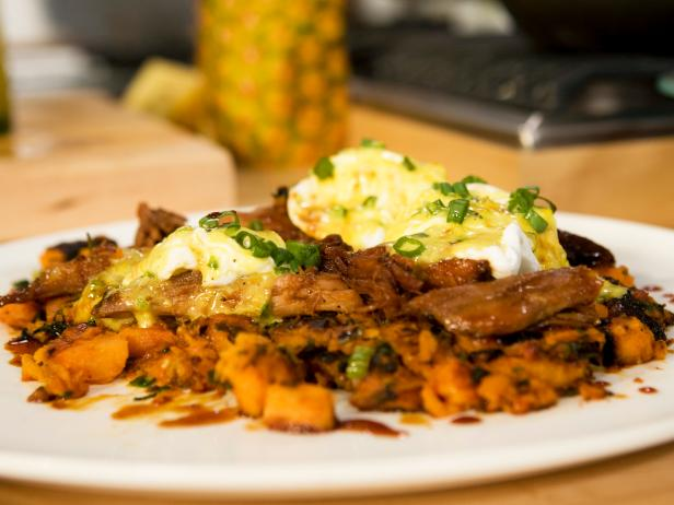 Sour Orange Pork with Sweet Potato-Hash, Fried Eggs and Sofrito Hollandaise