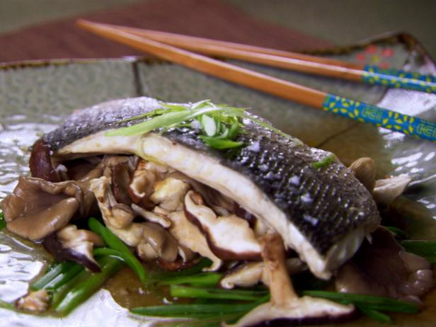 Steamed Sea Bass with Ginger and Chinese Mushrooms
