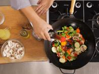 Add Sauce to Stir Fry in Middle of Vegetables