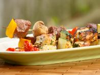 Grilled Kebabs with Beef,Chicken and Vegetables