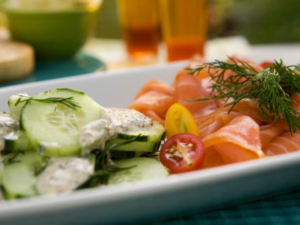 Watercress and Smoked Salmon Salad with Creamy Cucumbers