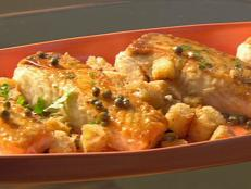 Cooking Channel serves up this Halibut with Lemon, Capers, and Croutons recipe from Amy  Finley plus many other recipes at CookingChannelTV.com