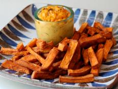 Cooking Channel serves up this Sweet Potato Fries with Chili Coconut Dip recipe from Bal Arneson plus many other recipes at CookingChannelTV.com