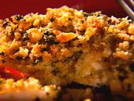 Baked Seabass with Homemade Garlic Butter and Herb Bread Crumb Topping