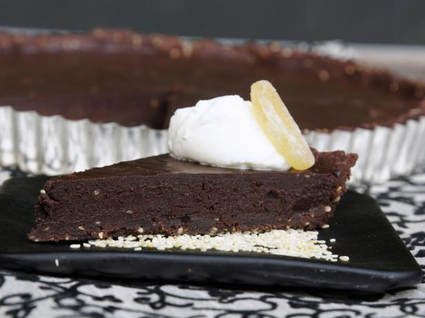 Toasted Sesame and Candied Ginger Chocolate Truffle Tart