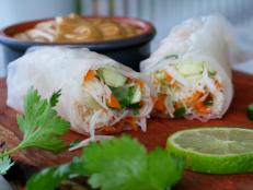 Cooking Channel serves up this Vegetable and Noodle Filled Spring Rolls recipe from Josh Kilmer-Purcell  and Brent Ridge plus many other recipes at CookingChannelTV.com