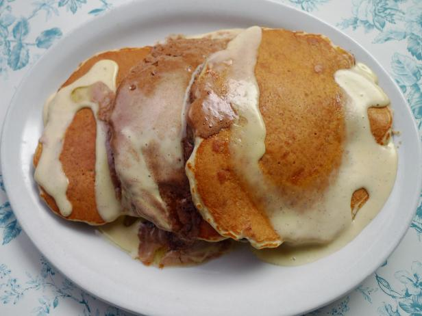 Southport Grocery and Cafe's Bread Pudding Pancakes with Vanilla Custard Sauce and Cinnamon Sugar Butter