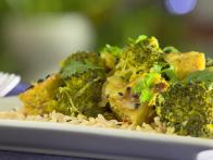 Curried Broccoli with Grilled Tempeh