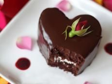 Cooking Channel serves up this Heart-Shaped Chocolate Raspberry Cakes recipe  plus many other recipes at CookingChannelTV.com