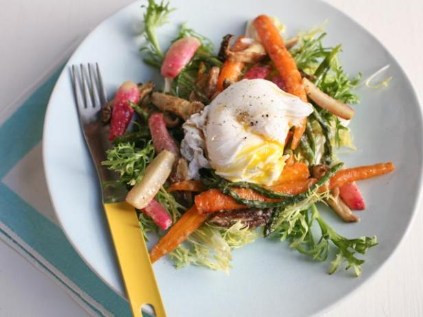 Roasted Spring Vegetable Salad with Miso Butter and a Poached Egg
