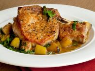 Pork Chops with Caramelized Apples and Arugula