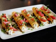 Roti Crepes with Ri-Cottage Cheese, Roasted Apple Chutney and Pickled Radish