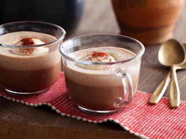 Hot Spiced Mexican Hot Chocolate with Ice Cream Dusted with Chili Powder