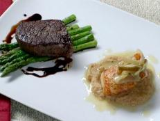 Cooking Channel serves up this Pan Roasted Filet Mignon with Asparagus Sea Bass with Roasted Cauliflower Puree recipe from Brian Boitano plus many other recipes at CookingChannelTV.com