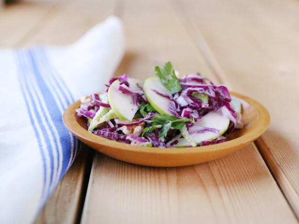 Red Cabbage and Green Apple Slaw with Buttermilk Dressing