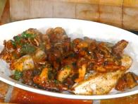 Baked Grouper with Wild Mushrooms: Grouper al Forno con Funghi Trifolati
