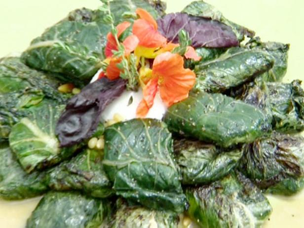 Grilled Bacara Ranch Romaine Leaves with Prosciutto, Pine Nuts and Basil