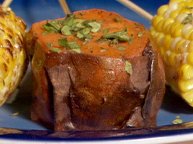 Red Chile Rubbed Sweet Potatoes with Green Onion Vinaigrette