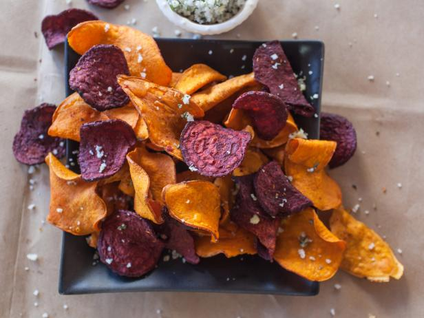 Sweet Potato and Beet Chips with Garlic Rosemary Salt
