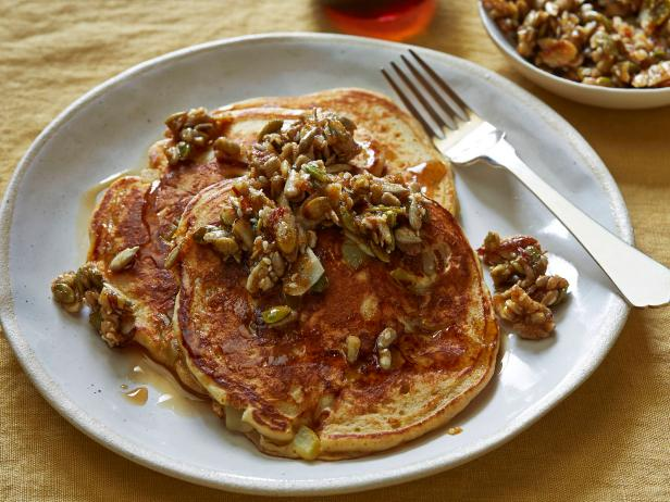 Whole-Wheat Pancakes with Nutty Topping