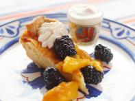 Whiskey Buttermilk Pie with Fresh Whipped Cream and Tipsy Blackberries and Peaches