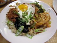 Oat Congee with Fried Eggs and Scallions