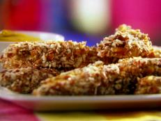 Cooking Channel serves up this Honey Mustard Pretzel-Coated Chicken Fingers recipe from Lisa Lillien plus many other recipes at CookingChannelTV.com