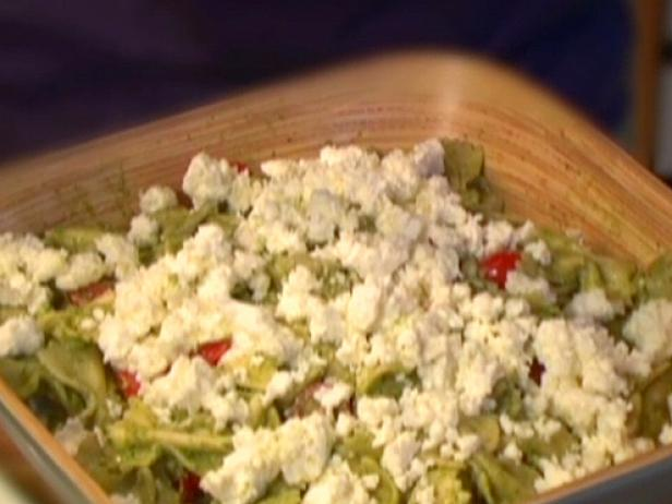Bow Ties with Pesto, Feta and Cherry Tomatoes