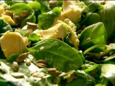 Cooking Channel serves up this Baby Spinach, Avocado, and Pumpkin Seed Salad recipe from Nigella Lawson plus many other recipes at CookingChannelTV.com