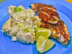 Cooking Channel serves up this Blackened Lionfish with Creamy Potato Salad recipe  plus many other recipes at CookingChannelTV.com
