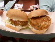 "Cooking Channel serves up this ""Fred and Ethel"" Fish Sliders recipe  plus many other recipes at CookingChannelTV.com"