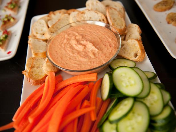 Store Bought Hummus with Roasted Red Pepper Dip