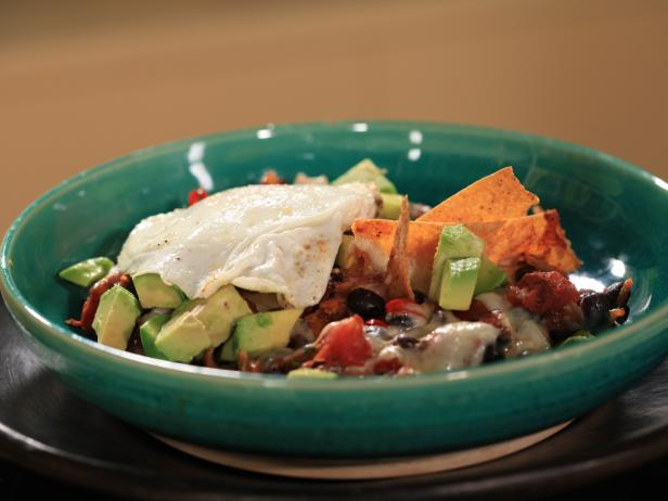 Texas Style Bacon, Beans and Eggs: Black Bean Chilaquiles