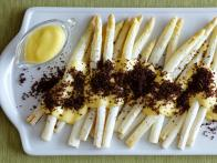 Roasted White Asparagus with Sauerkraut Hollandaise and Toasted Pumpernickel Breadcrumbs